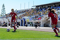20200307  Lagos , Portugal : Danish forward Sara Holmgaard (18) pictured during the female football game between the national teams of Sweden and Denmark on the second matchday of the Algarve Cup 2020 , a prestigious friendly womensoccer tournament in Portugal , on saturday 7 th March 2020 in Lagos , Portugal . PHOTO SPORTPIX.BE | STIJN AUDOOREN
