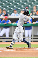 Pensacola Blue Wahoos left fielder T.J. Friedl (3) swings at a pitch during a game against the Tennessee Smokies at Smokies Stadium on August 30, 2018 in Kodak, Tennessee. The Blue Wahoos defeated the Smokies 5-1. (Tony Farlow/Four Seam Images)