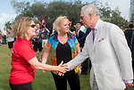 HRH Prince Charles meets Nicola Phillips, Team Wales Chef de Mission <br /> <br /> *This image must be credited to Ian Cook Sportingwales and can only be used in conjunction with this event only*<br /> <br /> 21st Commonwealth Games  -  Day 1- 05\04\2018 - Kurrawa Surf Club - Gold Coast City - Australia