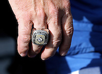 Apr. 7, 2013; Las Vegas, NV, USA: Detailed view of the championship ring worn by NHRA pro stock driver Allen Johnson during the Summitracing.com Nationals at the Strip at Las Vegas Motor Speedway. Mandatory Credit: Mark J. Rebilas-