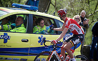 medical assistence up the Loorberg for Jelle Vanendert (BEL/Lotto-Soudal)<br /> <br /> 50th Amstel Gold Race 2015