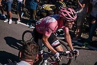 Maglia Rosa / overall leader Tom Dumoulin (NED/Sunweb) up the final steep climb towards the Città Alta in Bergamo<br /> <br /> Stage 15: Valdengo › Bergamo (199km)<br /> 100th Giro d'Italia 2017