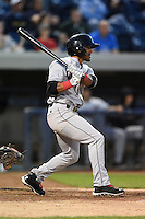 Great Lakes Loons second baseman Jesmuel Valentin (6) at bat during a game against the West Michigan Whitecaps on June 5, 2014 at Fifth Third Ballpark in Comstock Park, Michigan.  West Michigan defeated Great Lakes 6-2.  (Mike Janes/Four Seam Images)