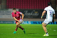 Corey Baldwin of Scarlets in action during the European Rugby Challenge Cup Round 1 match between the Scarlets and London Irish at Parc Y Scarlets in Llanelli, Wales, UK. Saturday 16th November 2019