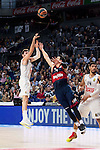 Real Madrid´s player Rudy Fernandez and Bayern Munich´s player Djedovic during the 4th match of the Turkish Airlines Euroleague at Barclaycard Center in Madrid, Spain, November 05, 2015. <br /> (ALTERPHOTOS/BorjaB.Hojas)