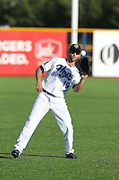 Stephen Dezzi (19) of the Hillsboro Hops throws before a game against the Salem-Keizer Volcanoes at Ron Tonkin Field on July 27, 2015 in Hillsboro, Oregon. Hillsboro defeated Salem-Keizer, 9-2. (Larry Goren/Four Seam Images)
