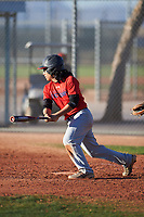 Nicholas Martinez-Iturralde (45), from Baytown, Texas, while playing for the Red Sox during the Under Armour Baseball Factory Recruiting Classic at Red Mountain Baseball Complex on December 29, 2017 in Mesa, Arizona. (Zachary Lucy/Four Seam Images)