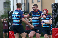 Cooperians celebrate their third try during Campion RFC vs Old Cooperians RFC, London 3 Essex Division Rugby Union at Cottons Park on 16th October 2021