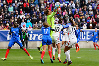 Harrison, NJ - Sunday March 04, 2018: Sarah Bouhaddi, Carli Lloyd during a 2018 SheBelieves Cup match match between the women's national teams of the United States (USA) and France (FRA) at Red Bull Arena.