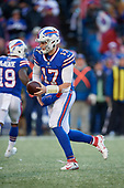 Buffalo Bills quarterback Josh Allen (17) hands the ball off during an NFL football game against the New York Jets, Sunday, December 9, 2018, in Orchard Park, N.Y.  (Mike Janes Photography)