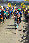 Riders tackle Sector 10 Mons-en-Pevele during the 113th edition of the Paris-Roubaix 2015 cycle race held over the cobbled roads of Northern France. 12th April 2015.<br /> Photo: Eoin Clarke www.newsfile.ie
