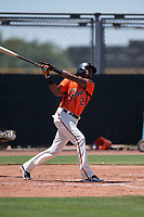San Francisco Giants Orange second baseman Alen Hanson (22) follows through on his swing in a rehab appearance during an Extended Spring Training game against the Seattle Mariners at the San Francisco Giants Training Complex on May 28, 2018 in Scottsdale, Arizona. (Zachary Lucy/Four Seam Images)