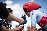 Mads Würtz Schmidt (DEN/Katusha-Alpecin) interviewed after finishing the TTT<br /> <br /> Stage 2 (TTT): Brussels to Brussels(BEL/28km) <br /> 106th Tour de France 2019 (2.UWT)<br /> <br /> ©kramon