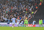Huddersfield Town 1 Wolverhampton Wanderers 0, 27/08/2016. John Smith's Stadium, Championship. Huddersfield fans and players celebrate the 6th minute goal scored by Rajiv van La Parra. Photo by Paul Thompson.