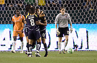 LA Sol' s Aya Miyama congratulates Marta after scoring the lone goal. The LA Sol defeated Sky Blue FC 1-0 at Home Depot Center stadium in Carson, California on Friday May 15, 2009.   .