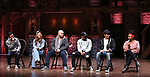 """Marc dela Cruz, Elizabeth Judd, Greg Treco, Terrance Spencer, Anthony Lee Medina, Sasha Hollinger during a Q & A before The Rockefeller Foundation and The Gilder Lehrman Institute of American History sponsored High School student #EduHam matinee performance of """"Hamilton"""" at the Richard Rodgers Theatre on 3/20/2019 in New York City."""