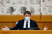 Press conference of the senator and leader of the party Italia Viva Matteo Renzi during the press conference that officially opens the Government crisis. Indeed, ministers of his party ha resigned as protest.<br /> Rome(Italy), January 13th 2021<br /> Photo Samantha Zucchi/Insidefoto