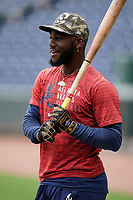 Center fielder Michael Harris II (24) of the Rome Braves before a game against the Greenville Drive on Tuesday, August 3, 2021, at Fluor Field at the West End in Greenville, South Carolina. (Tom Priddy/Four Seam Images)