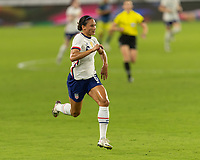 ORLANDO, FL - JANUARY 22: Lynn Williams #6 runs to a ball during a game between Colombia and USWNT at Exploria stadium on January 22, 2021 in Orlando, Florida.