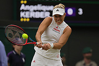 6th July 2021, Wimbledon, SW London, England; 2021 Wimbledon Championships, day 8;  Angelique Kerber of Germany hits a return during the womens quarterfinal match with Karolina Muchova of the Czech Republic