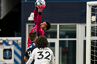 FOXBOROUGH, UNITED STATES - MAY 28: Drake Callender #27 of Fort Lauderdale CF makes a save during a game between Fort Lauderdale CF and New England Revolution II at Gillette Stadium on May 28, 2021 in Foxborough, Massachusetts.