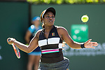 March 8, 2019: Sloane Stephens (USA) hits a forehand during her match where she was defeated by Stephanie Voegele (SUI) 6-3, 6-0 at the BNP Paribas Open at the Indian Wells Tennis Garden in Indian Wells, California. ©Mal Taam/TennisClix/CSM