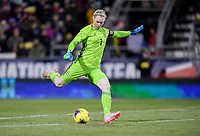 COLUMBUS, OH - NOVEMBER 07: Hedvig Lindahl #1 of Sweden sends a ball downfield during a game between Sweden and USWNT at MAPFRE Stadium on November 07, 2019 in Columbus, Ohio.