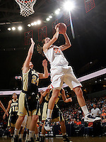Nov. 14, 2010; Charlottesville, VA, USA;  Virginia forward Chelsea Shine (50) grabs a rebound in front of Mount St. Mary's forward Mary Dunn (24) during the game at the John Paul Jones Arena. Virginia won 81-58. Mandatory Credit: Andrew Shurtleff