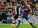 Sergi Roberto Carnicer (R) of FC Barcelona fights for the ball with Ivan Lopez Alvarez, Ivi, of Levante UD during the La Liga 2017-18 match between FC Barcelona and Levante UD at Camp Nou on 07 January 2018 in Barcelona, Spain. Photo by Vicens Gimenez / Power Sport Images