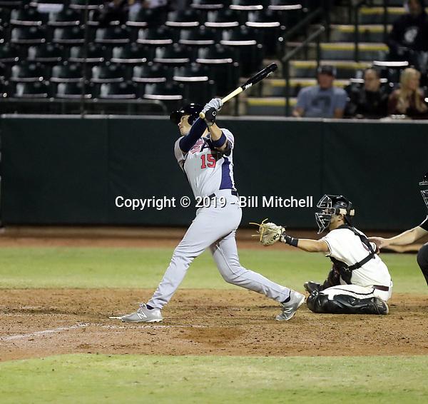 Bobby Dalbec plays for the USA Baseball Premier 12 Team in games against Arizona State University at Phoenix Municipal Stadium on October 25, 2019 in Phoenix, Arizona (Bill Mitchell)