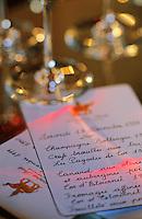 Europe/France/Aquitaine/33/Gironde/Saint-Estèphe: château Cos d'Estournel (AOC Saint-Estèphe) - Menu lors d'une réception