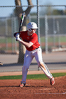 Justin Vargas (49), from South San Francisco, California, while playing for the Red Sox during the Under Armour Baseball Factory Recruiting Classic at Red Mountain Baseball Complex on December 29, 2017 in Mesa, Arizona. (Zachary Lucy/Four Seam Images)