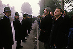 Miners Strike 1984. Miners on strike wait for working Miners to enter the Colliery Yard. Gasgoine Pit Yorkshire. 1980s UK