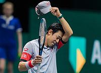 Rotterdam, The Netherlands, 5 march  2021, ABNAMRO World Tennis Tournament, Ahoy,  Quarter final: Kei Nishikori (JPN) facing defeat.<br /> Photo: www.tennisimages.com/henkkoster
