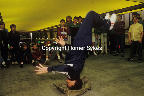 Breakdancing Stockport Lancashire. 1980s Britain. The area where teens performed was know at the Bear Pit in Mersey Square,