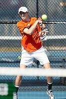 SAN ANTONIO, TX - FEBRUARY 8, 2017: The University of Texas at San Antonio Roadrunners fall to the Texas A&M University-Corpus Christi Islanders 6-1 at the UTSA Tennis Center. (Photo by Jeff Huehn)