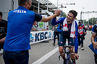 Filippo Ganna (ITA/Ineos Grenadiers) succesfully defends his TT title<br /> <br /> Men Elite Individual Time Trial <br /> from Knokke-Heist to Bruges (43.3 km)<br /> <br /> UCI Road World Championships - Flanders Belgium 2021<br /> <br /> ©kramon