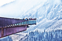 BC forest fire smoke blocks the scenic view from the Jasper Glacier Skywalk