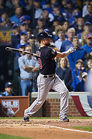 Cleveland Indians Corey Kluber (28) hits a single in the second inning during Game 4 of the Major League Baseball World Series against the Chicago Cubs on October 29, 2016 at Wrigley Field in Chicago, Illinois.  (Mike Janes/Four Seam Images)