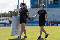 Bradenton, FL - Sunday, June 12, 2018: Bev Priestman, Canada Staff prior to a U-17 Women's Championship 3rd place match between Canada and Haiti at IMG Academy. Canada defeated Haiti 2-1.