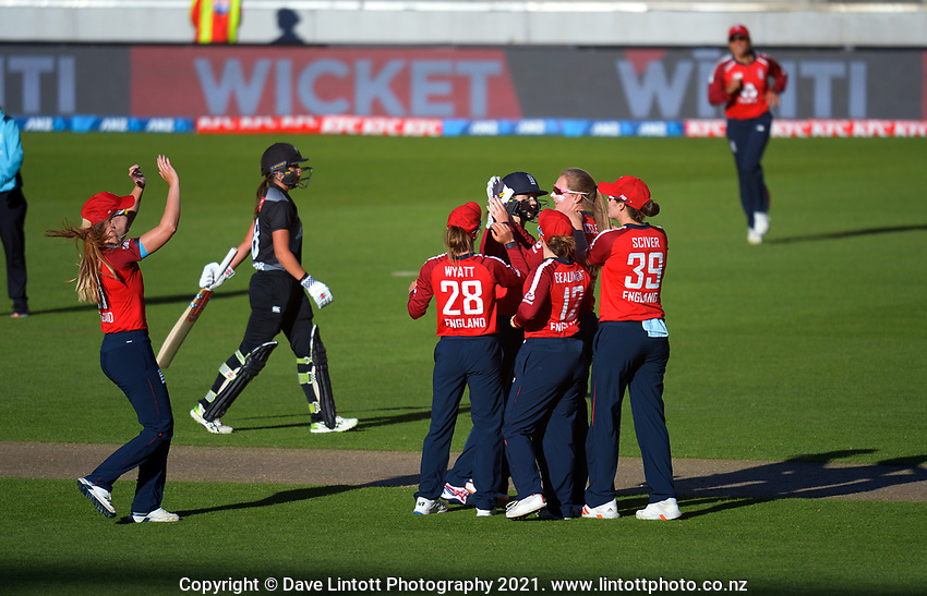England's Sophie Ecclestone celebrates dismissing Amelia Kerr during the 3rd international women's T20 cricket match between the New Zealand White Ferns and England at Sky Stadium in Wellington, New Zealand on Sunday, 7 March 2021. Photo: Dave Lintott / lintottphoto.co.nz