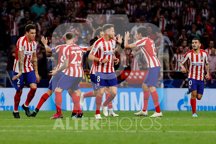 Players of Atletico de Madrid celebrate goal during UEFA Champions League match between Atletico de Madrid and Juventus at Wanda Metropolitano Stadium in Madrid, Spain. September 18, 2019. (ALTERPHOTOS/A. Perez Meca)