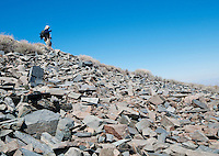 A hiker from the Appalachian Mountain Club on Telescope Peak Trail, Death Valley National Park, California