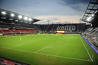 WASHINGTON, DC - AUGUST 25: Teams playing the match with out fans during a game between New England Revolution and D.C. United at Audi Field on August 25, 2020 in Washington, DC.