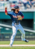 31 May 2018: New Hampshire Fisher Cats infielder Bo Bichette gets the second out of the 9th inning against the Portland Sea Dogs at Northeast Delta Dental Stadium in Manchester, NH. The Sea Dogs defeated the Fisher Cats 12-9 in extra innings. Mandatory Credit: Ed Wolfstein Photo *** RAW (NEF) Image File Available ***