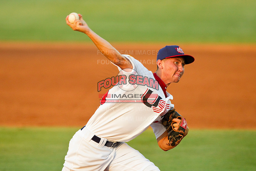 Ryan Koziol #34 of the USA 18u National Team in action against the USA Baseball Collegiate National Team at the USA Baseball National Training Center on July 2, 2011 in Cary, North Carolina.  The College National Team defeated the 18u team 8-1.  Brian Westerholt / Four Seam Images