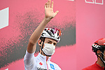 Harm Vanhoucke (BEL) Lotto Soudal wearing the Maglia Bianca at sign on before the start of Stage 9 of the 103rd edition of the Giro d'Italia 2020 running 208km from San Salvo to Roccaraso (Aremogna), Sicily, Italy. 11th October 2020.  <br /> Picture: LaPresse/Massimo Paolone   Cyclefile<br /> <br /> All photos usage must carry mandatory copyright credit (© Cyclefile   LaPresse/Massimo Paolone)