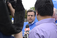 Montreal, CANADA - June 21, 2105<br /> <br /> Mayor Denis  Coderre, IMPACT soccer team players, CANADIENS Hockey team former players take part in PROCURE March, June 21, 2015.<br /> <br /> Photo : Claire Rutz - Claire Rutz