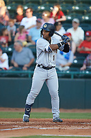 Frederick Cuevas (1) of the Charleston RiverDogs at bat against the Hickory Crawdads at L.P. Frans Stadium on August 10, 2019 in Hickory, North Carolina. The RiverDogs defeated the Crawdads 10-9. (Brian Westerholt/Four Seam Images)