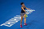 Anastasija Sevastova of Latvia hits a return during the singles Round Robin match of the WTA Elite Trophy ZHUHAI 2017 against Sloane Stephens of the United States at Hengqin Tennis Center on November  01, 2017 in Zhuhai, China.Photo by Yu Chun Christopher Wong / Power Sport Images